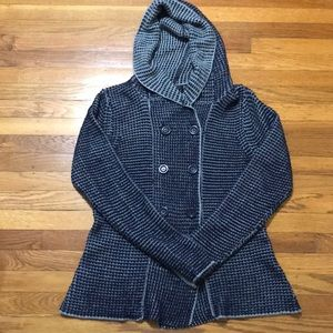Creazoni Effect Blue Hooded Sweater